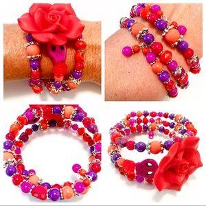 Skulls & Roses Day of the Dead Wrap Bracelet